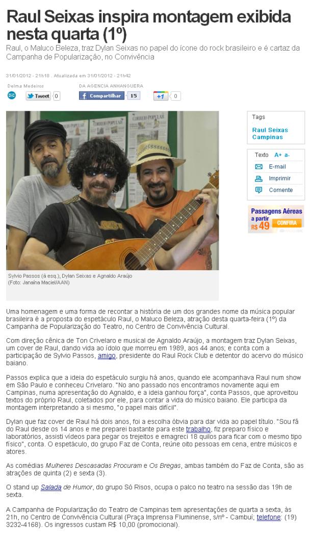 Jornal Correio Popular m- Campinas/SP 01/Fev/2012