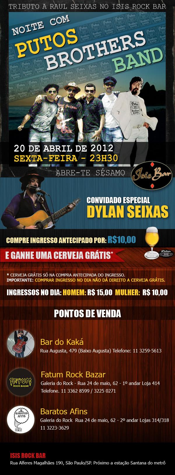 Show-tributo a Raul Seixas com Putos Brothers Band - Convidado Especial: Dylan Seixas