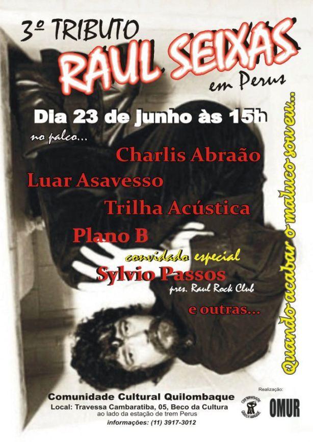 Sábado, 23 de junho, Raul Seixas homenageado em evento gratuito em Perus