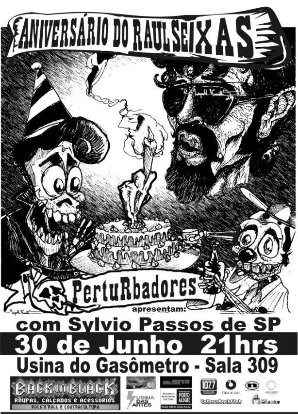 O power trio gaúcho Perturbadores prestam homenagem à Raul Seixas em Porto Alegre/RS.