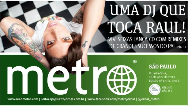 Vivi Seixas em destaque na edição de São Paulo do Jorrnal Metro de hoje