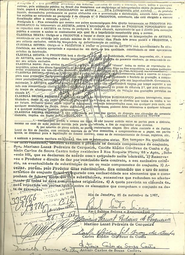 Contrato de Raulzito e Os Panteras